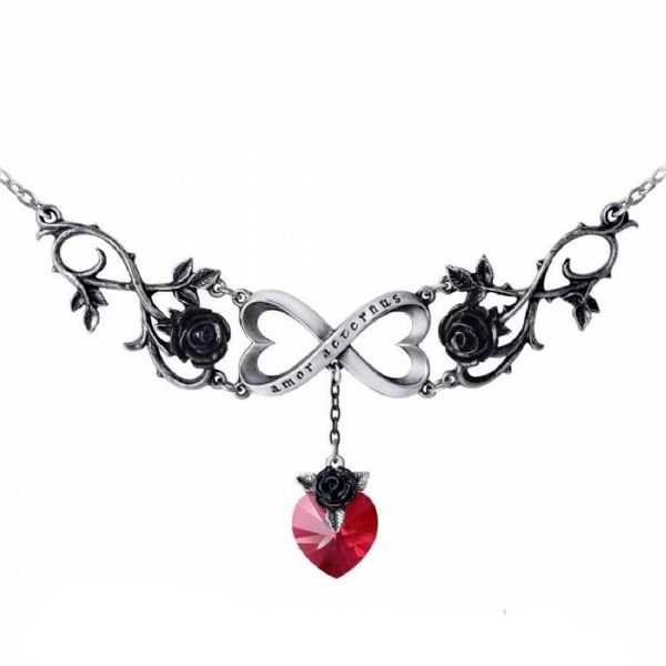 ALCHEMY GOTHIC  Infinite Love Heart & Roses Necklace